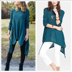 Free People green waffle thermal tunic top, sz XS